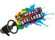 Schriftszug Jugend checkt Düsseldorf fligt mit bunten Farbkleksen aus einem Megaphon