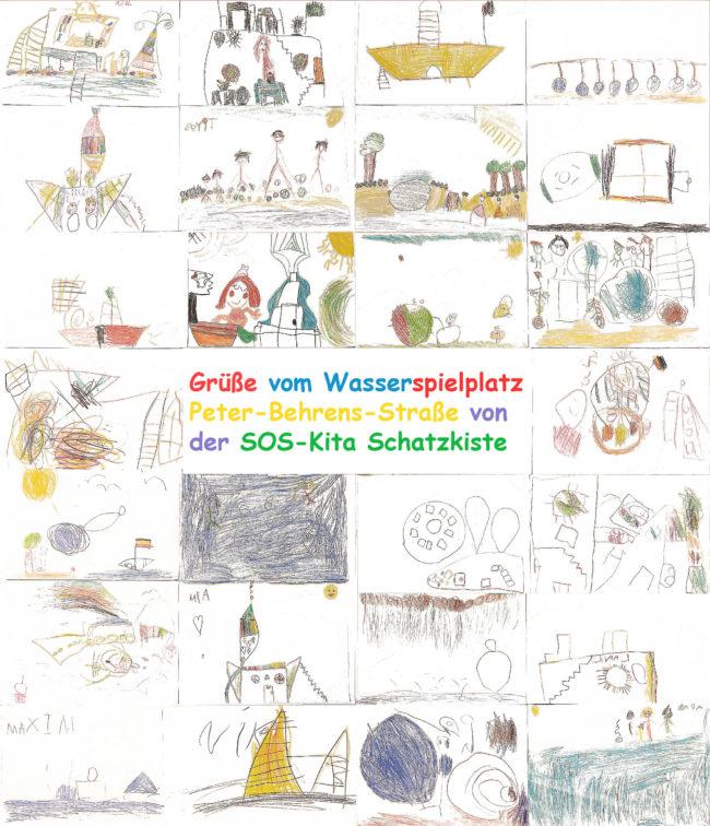 gemalte Bilder von Kindern mit Wünschen für Spieplatz