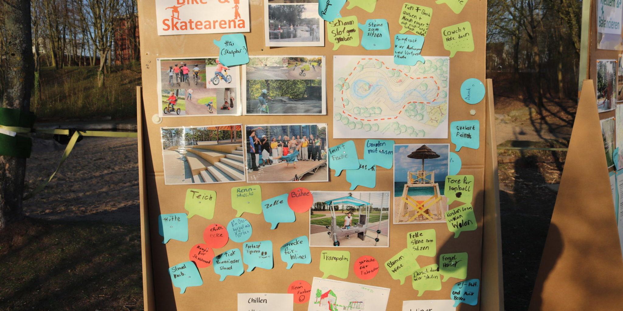Pinnwand mit vielen Ideen für den neuen Spielplatz