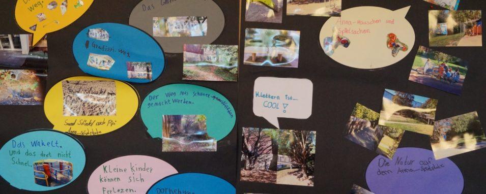 Wand mit Fotos und Sprechblasen mit den Wünschen der Teilnehmenden