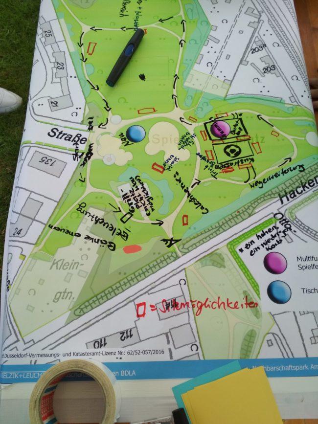 Plan der Anlage mit eingefügten Wünschen der Jugendlichen