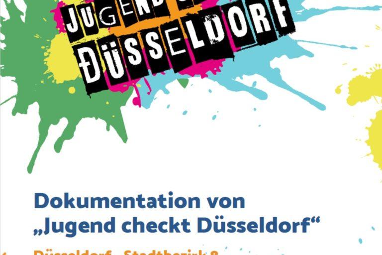 Cover der Dokumentation Jugend checkt Düsseldorf im Stadtbezirk 8 mit bunten Farbklecksen